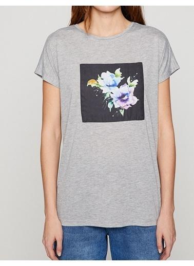 Koton Baskılı T-Shirt Gri